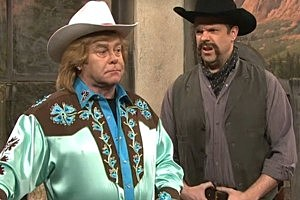 Elton John as a flamboyant cowboy in the SNL Skit 'The Old West'