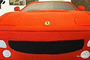 Woman Knits Ferrari Using 12 Miles of Yarn [VIDEO]