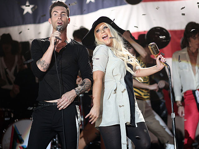 Christina Aguilera and Maroon 5 Shoot 'Moves Like Jagger' Video